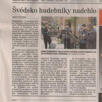 Švédsko hudebníky nadchlo / Prachatický deník 11.6.2010