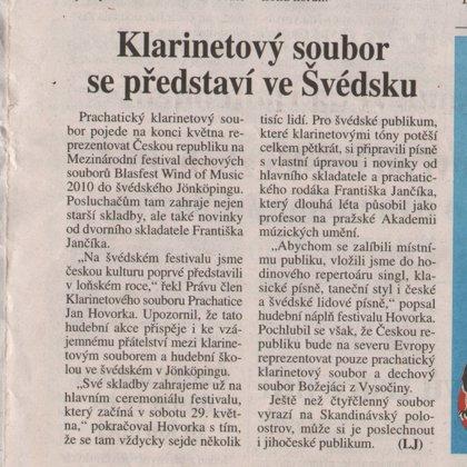Klarinetový soubor se představí ve Švédsku / Deník Právo Jižní Čechy 19.5.2010