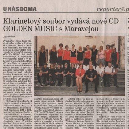 Klarinetový soubor vydává nové CD GOLDEN MUSIC s Maravejou / Prachatický deník 27.11.2012