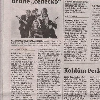 Klarinetisté pokřtí cédéčko / Prachatický deník 3.10.2018
