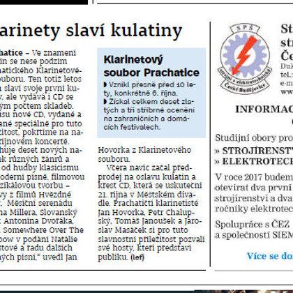 Klarinety slaví kulatiny / Prachatický deník 7.10.2016