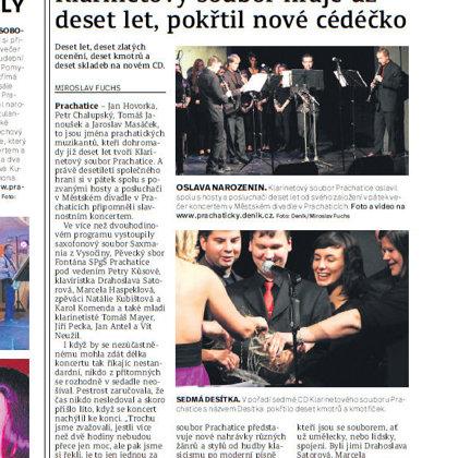 Klarinetový soubor hraje už deset let, pokřtil nové cedečko / Prachatický deník 26.10.2016