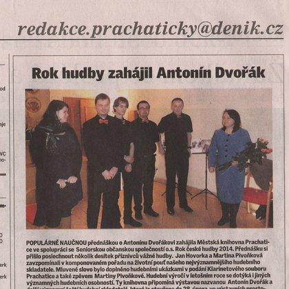 Rok hudby zahájil Antonín Dvořák / Prachatický deník 10.1.2014