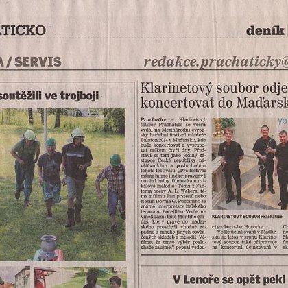 Klarinetový soubor odjel dnes koncertovat do Mad'arska / Prachatický deník 1.7.2014
