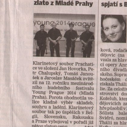 Klarinetisté přivezli zlato z Mladé Prahy / Českobudějovický deník 1.4.2014