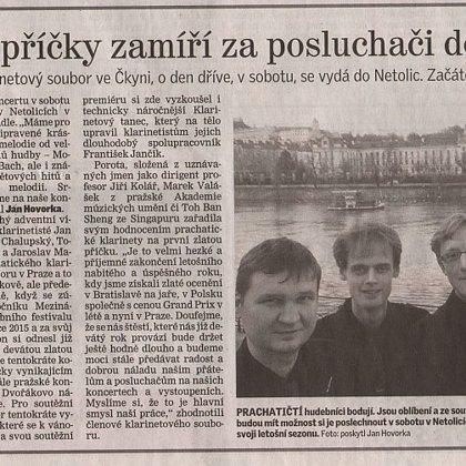 Držitelé zlaté příčky zamíří za posluchači do synagogy / Prachatický deník 16.12.2015