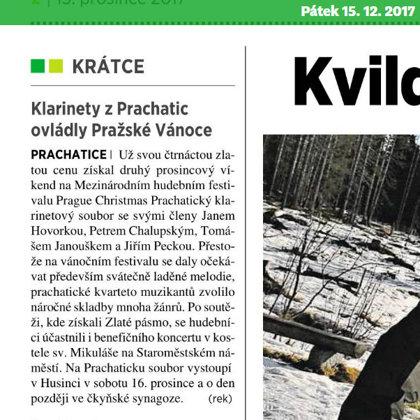Klarinetový soubor Prachatice je už jedenáctkrát zlatý / Prachatický deník 15.12.2016