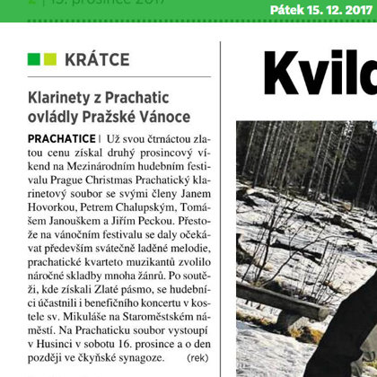 Klarinety z Prachatic ovládly Pražské vánoce / 5+2 Šumava 15.12.2017