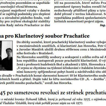 Mezinárodní cena pro Klarinetový soubor Prachatice / Radniční list Prachatice srpen 2016
