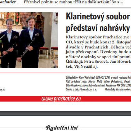 Klarinetový soubor Prachatice představí nahrávky z nové desky / Radniční list Prachatice, říjen 2018