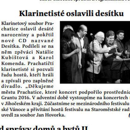 Klarinetisté oslavili desítku / Radniční list Prachatice listopad 2016