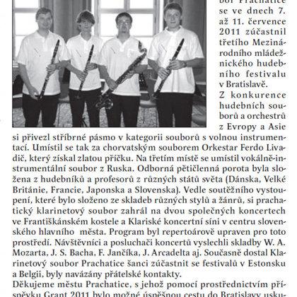 Klarinetový soubor přivezl stříbro / Radniční list Prachatice srpen 2011