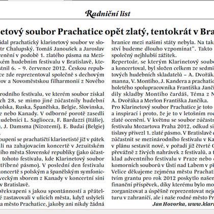 Klarinetový soubor Prachatice opět zlatý, tentokrát v Bratislavě / Radniční list Prachatice srpen 2012