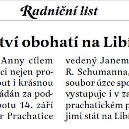 Dny Evropského dědictví obohatí kna Libínském Sedle koncert / Radniční list září 2013