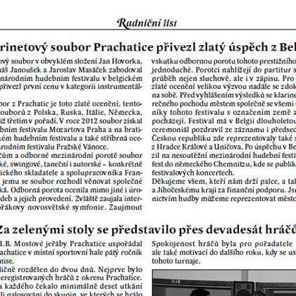 Klarinetový soubor Prachatice přivezl zlatý úspěch z Belgie / Radniční list červen 2013