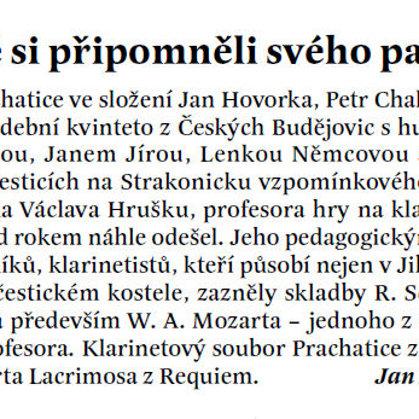 Žáci a přátelé si připomněli svého pana profesora / Radniční list Prachatice srpen 2013