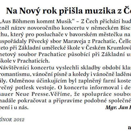 Na Nový rok přišla muzika z Čech / Radniční list Prachatice únor 2012
