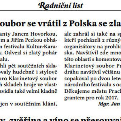Klarinetový soubor Prachatice se vrátil z Polska se zlatým pohárem / Radniční list Prachatice září 2017