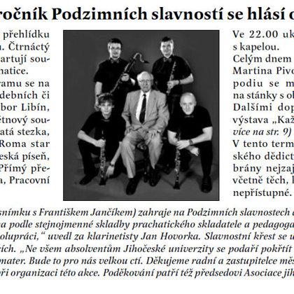 Druhý ročník Podzimních slavností se hlásí o slovo / Radniční list Prachatice září 2013