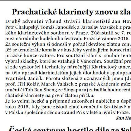 Prachatické klarinety znovu zlaté / Radniční list prachatice leden 2016