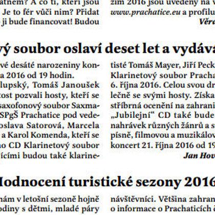 Klarinetový soubor oslaví deset let a vydává nové CD / Radniční list Prachatice říjen 2016