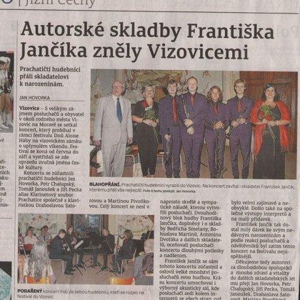 Autorské skladby Františka Jančíka zněly Vizovicemi / Prachatický deník 30.8.2017